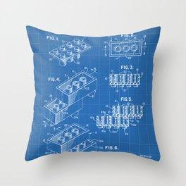 Legos Patent - Legos Brick Art - Blueprint Throw Pillow