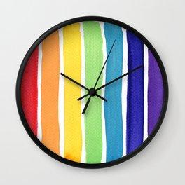 Watercolour rainbow stripes Wall Clock