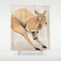 kangaroo Shower Curtains featuring Kangaroo by 1k Blooms Studios