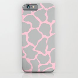 Giraffe Print - Grey & Pink iPhone Case