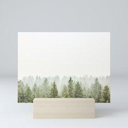 arial forest print, tree top print, wall art, woodland print, forest print, arial fog tree phoo Mini Art Print