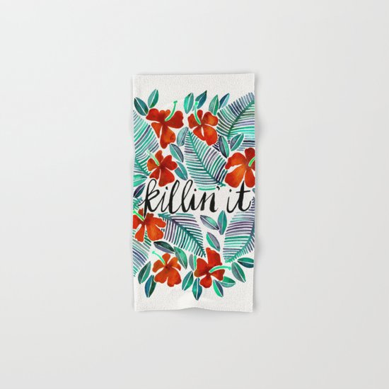 Killin' It – Tropical Red & Green Hand & Bath Towel