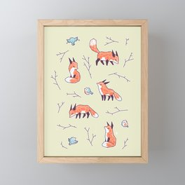 Fox and Bird Pattern Framed Mini Art Print