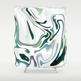 Greed Liquid Marbled Waves Design Shower Curtain