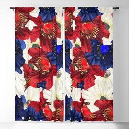 Red White Blue Floral Gems Blackout Curtain