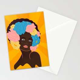 lady with flowers in her hair Stationery Cards