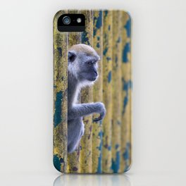monkey behind colorful bars iPhone Case