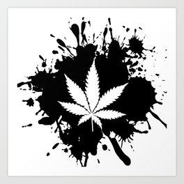 Canabis Black and white Art Print
