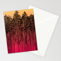 FOREST THROUGH THE TREES 12 Hot Pink Magenta Orange Black Landscape Ombre Abstract Painting Outdoors Stationery Cards