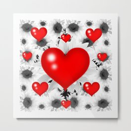 Red  Heart & Black Art  Pattern Metal Print