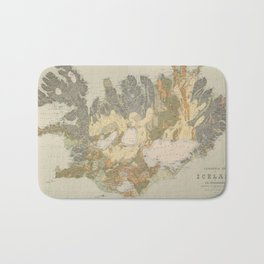 Vintage Geological Map of Iceland (1901) Bath Mat