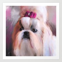 shih tzu Art Prints featuring Little Girl Shih Tzu by Jai Johnson