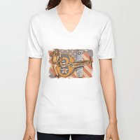 aviation V-neck T-shirts featuring Aviation Pinups - P-51 Mustang by Vintage Pinups