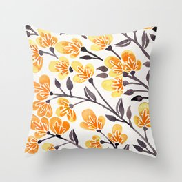Cherry Blossoms – Yellow Palette Throw Pillow