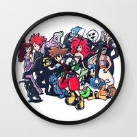 kingdom hearts Wall Clocks featuring Kingdom Hearts by Jaimie Hutton