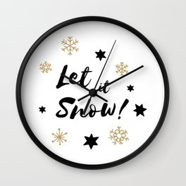 Let it Snow! Calligraphy Christmas, Stars and Snowflakes Wall Clock
