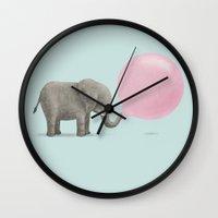 bubble Wall Clocks featuring Jumbo Bubble by Monica Gifford