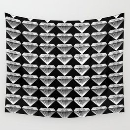 Diamonds Pattern - Black and White and Grey Wall Tapestry