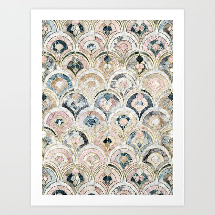 Art Deco Marble Tiles in Soft Pastels Kunstdrucke