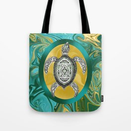 Aztec Emblem Sea Turtle  Tote Bag