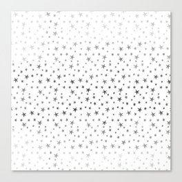 Mini Stars - Silver on White Canvas Print