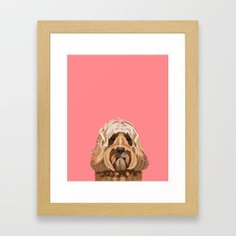 Labradoodle portrait blush dog portrait cute art gifts for dog breed lovers Framed Art Print