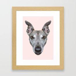 Whippet // Pastel Pink (Vespa) Framed Art Print