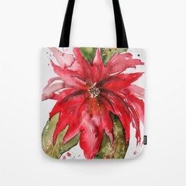 Bright Red Poinsettia Watercolor Tote Bag
