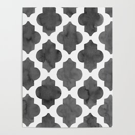 Quatrefoil in black and white Poster