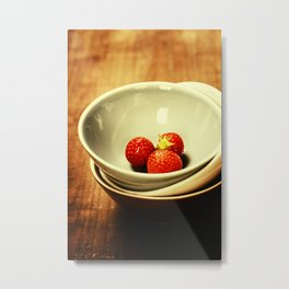Strawberries in a Bowl on wooden background Metal Print