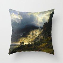 Albert Bierstadt - A Storm In The Rocky Mountains Mt Rosalie Throw Pillow
