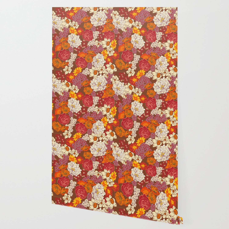 Retro Floral I Wallpaper By Marilynfoehrenbach Society6