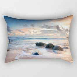 Frothy Seascape Sunset Rectangular Pillow
