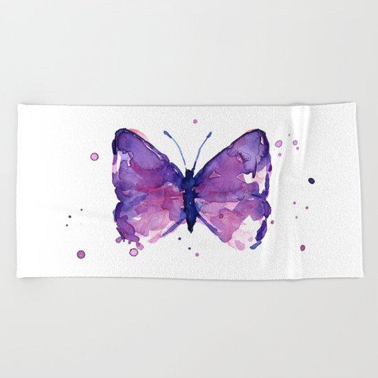 Butterfly Purple Watercolor Animal Beach Towel