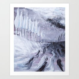 Afterlife in Black & White - Abstract Acrylic Painting Art Print