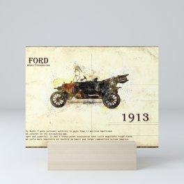 retro car in sketch style Mini Art Print
