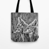 coyote Tote Bags featuring Coyote by Patrick Entenmann