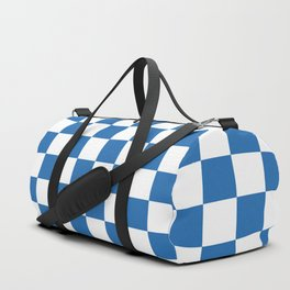 Gingham Azure Strong Blue Checked Pattern Duffle Bag