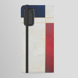 Blue, Red And White With Golden Lines Abstract Painting Android Wallet Case