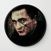 johnny cash Wall Clocks featuring Cash by Sirenphotos