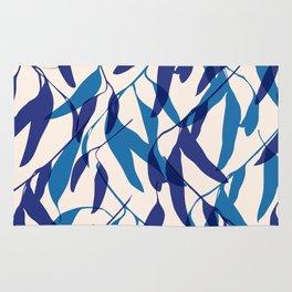 Gum leaves pattern in blue Rug