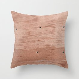 Plywood shipboard with nails and screws Throw Pillow