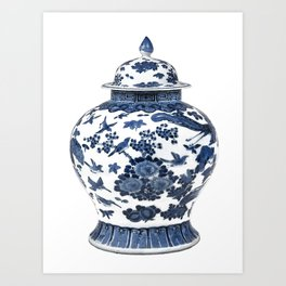 Blue & White Chinoiserie Porcelain Ginger Jar with Birds & Flowers Art Print