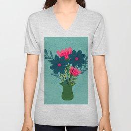 Blue Pink Bouquet Unisex V-Neck