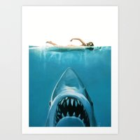 shark Art Prints featuring Shark by Maioriz Home