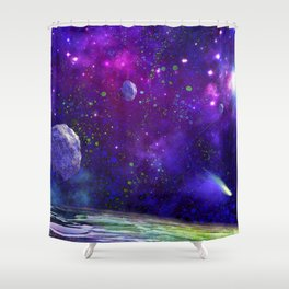 View From a Distant Moon Shower Curtain