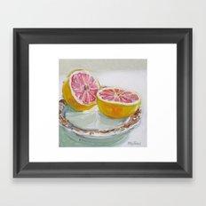 Grapefruit on Brown Transferware Framed Art Print