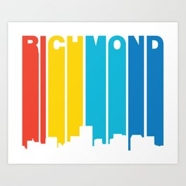 Retro 1970's Style Richmond Virginia Skyline Art Print
