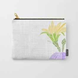 Yellow Flowered Blooming Cactus Carry-All Pouch