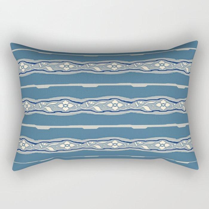 Blue creamy floral textile design Rectangular Pillow